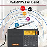 XHDATA D-808 tragbares digitales Radio UKW-Stereo/KW / MW/LW SSB RDS Air Band Multi-Band-Radio Lautsprecher mit LCD-Anzeige Wecker Externe Antenne und 2000 mah Chargeable Batterie (Grau)