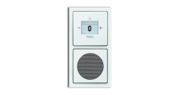 Das Busch-Radio BTconnect bietet Radio und Bluetooth-Empfänger in einer kompakten Unterputz-Dose. Auch ein Lautsprecher kann direkt in der UP-Dose integriert werden (hier aus dem Schalter-programm f u t u r e linear®). Foto: Busch-Jaeger